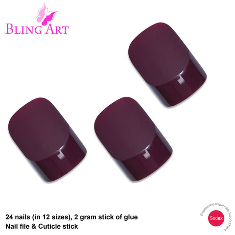 False Nails by Bling Art Red Brown Matte French Squoval 24 Fake Medium Tips - Bling Art