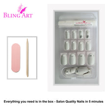 False Nails by Bling Art White Silver Glossy Oval Medium Fake 24 Acrylic Nail Tips