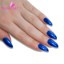 False Nails by Bling Art Blue Almond Stiletto Long Fake Acrylic Tips with Glue