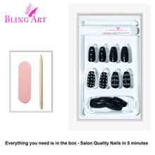 False Nails by Bling Art Black Punk Ballerina Coffin Acrylic 24 Fake Long Tips