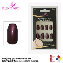 False Nails by Bling Art Brown Glitter Ballerina Coffin Fake Long Acrylic Tips