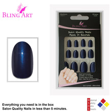 False Nails by Bling Art Blue Glitter Oval Medium Fake Acrylic 24 Tips with Glue