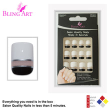 False Nails by Bling Art Black White Glossy French Squoval 24 Fake Medium Tips
