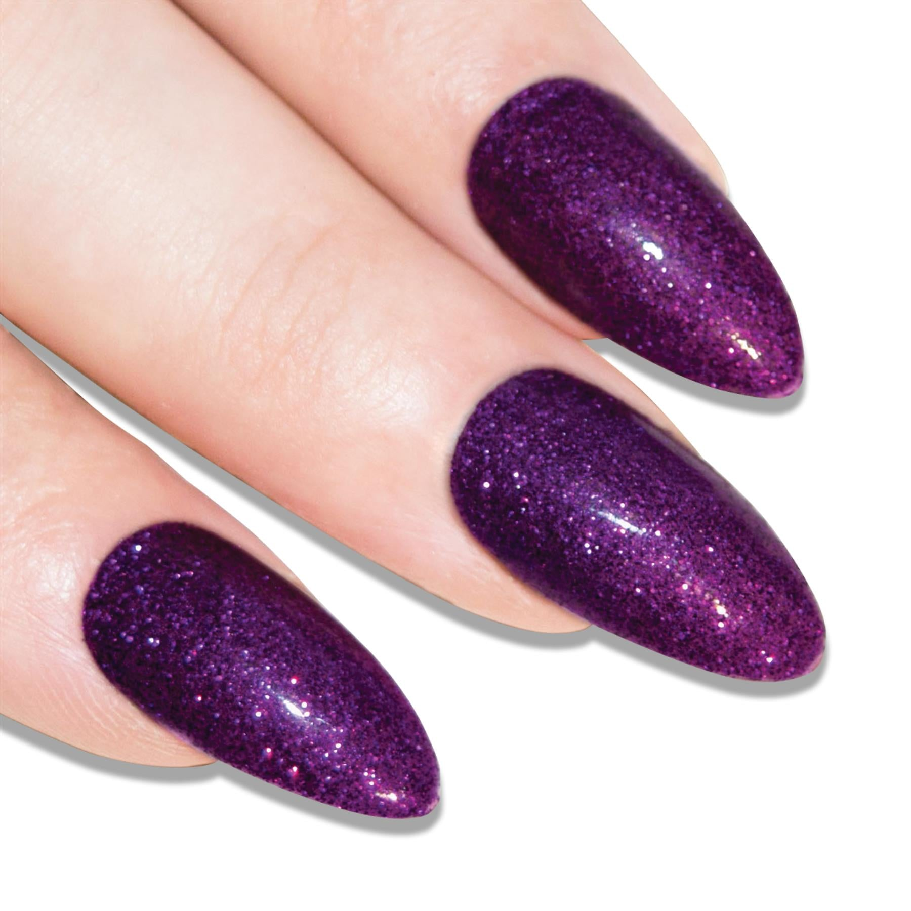False Nails Bling Art Purple Gel Almond Stiletto Long Fake Acrylic Tips and Glue, Cosmetics by Bling Art