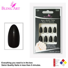 False Nails by Bling Art Black Glitter Almond Stiletto Fake Long Acrylic Tips