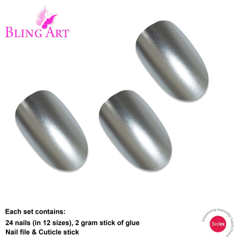 False Nails by Bling Art Silver Matte Metallic Oval Medium Fake Acrylic Tips Glue - Bling Art