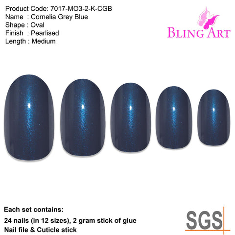 False Nails by Bling Art Grey Glitter Oval Medium Fake Acrylic 24 Tips with Glue - Bling Art