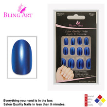 False Nails by Bling Art Blue Matte Metallic Oval Medium Fake Acrylic Tips Glue