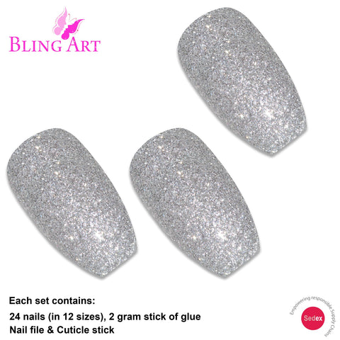False Nails by Bling Art Silver Gel Ballerina Coffin 24 Fake Long Acrylic Tips - Bling Art