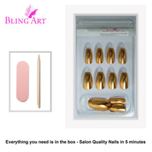 False Nails by Bling Art Gold Matte Metallic Ballerina Coffin Fake Acrylic Tips