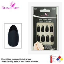 False Nails Bling Art Black Matte Almond Stiletto Long Fake Acrylic Tips with Glue