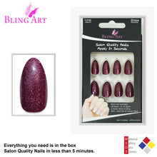 False Nails by Bling Art Red Brown Gel Almond Stiletto Fake Long Acrylic Tips