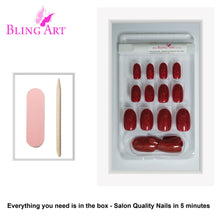 False Nails by Bling Art Red Gel Oval Medium Fake Acrylic 24 Tips with Glue