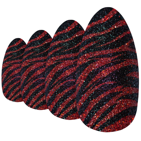 False Nails Bling Art Black Red Almond Stiletto Long Fake Acrylic Tips Glue - Bling Art