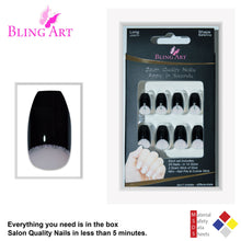 False Nails Bling Art Black Crystal Polished Ballerina Coffin Long Fake Tips