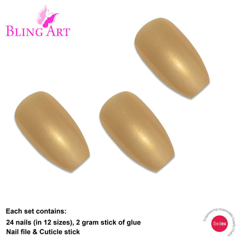 False Nails by Bling Art Gold Glitter Ballerina Coffin 24 Fake Long Acrylic Tips - Bling Art