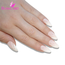 False Nails Bling Art White Lines Almond Stiletto Long Fake Acrylic Tips Glue