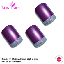 False Nails by Bling Art Purple Silver French Manicure Fake Medium Tips with Glue