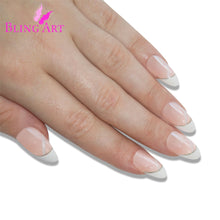 False Nails Bling Art White Glitter Almond Stiletto Long Fake Acrylic Tips
