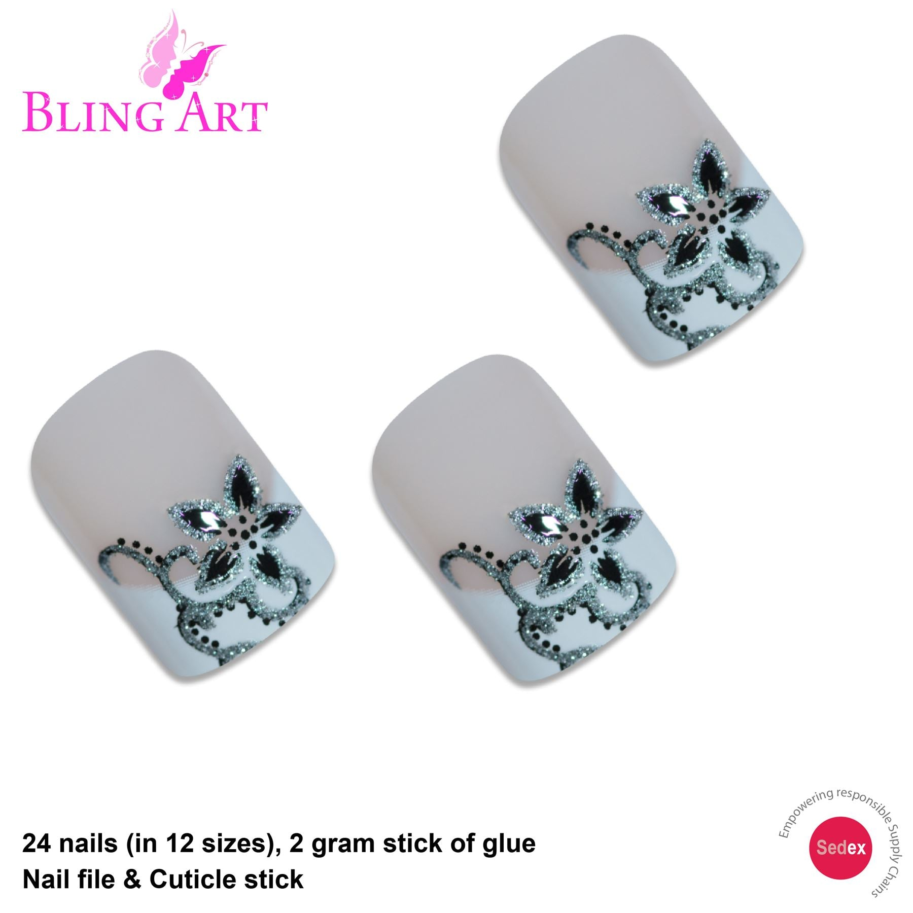 False Nails by Bling Art Black White French Manicure Fake Medium Tips with Glue