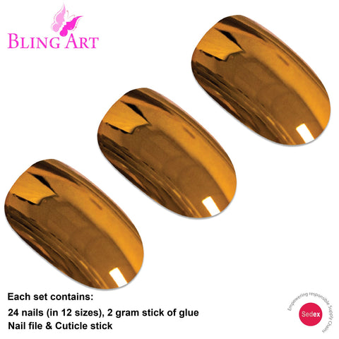 False Nails by Bling Art Gold Metallic Oval Medium Fake 24 Acrylic Nail Tips Glue - Bling Art