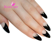 False Nails Bling Art Black Glitter Almond Stiletto Long Fake Acrylic Tips & Glue