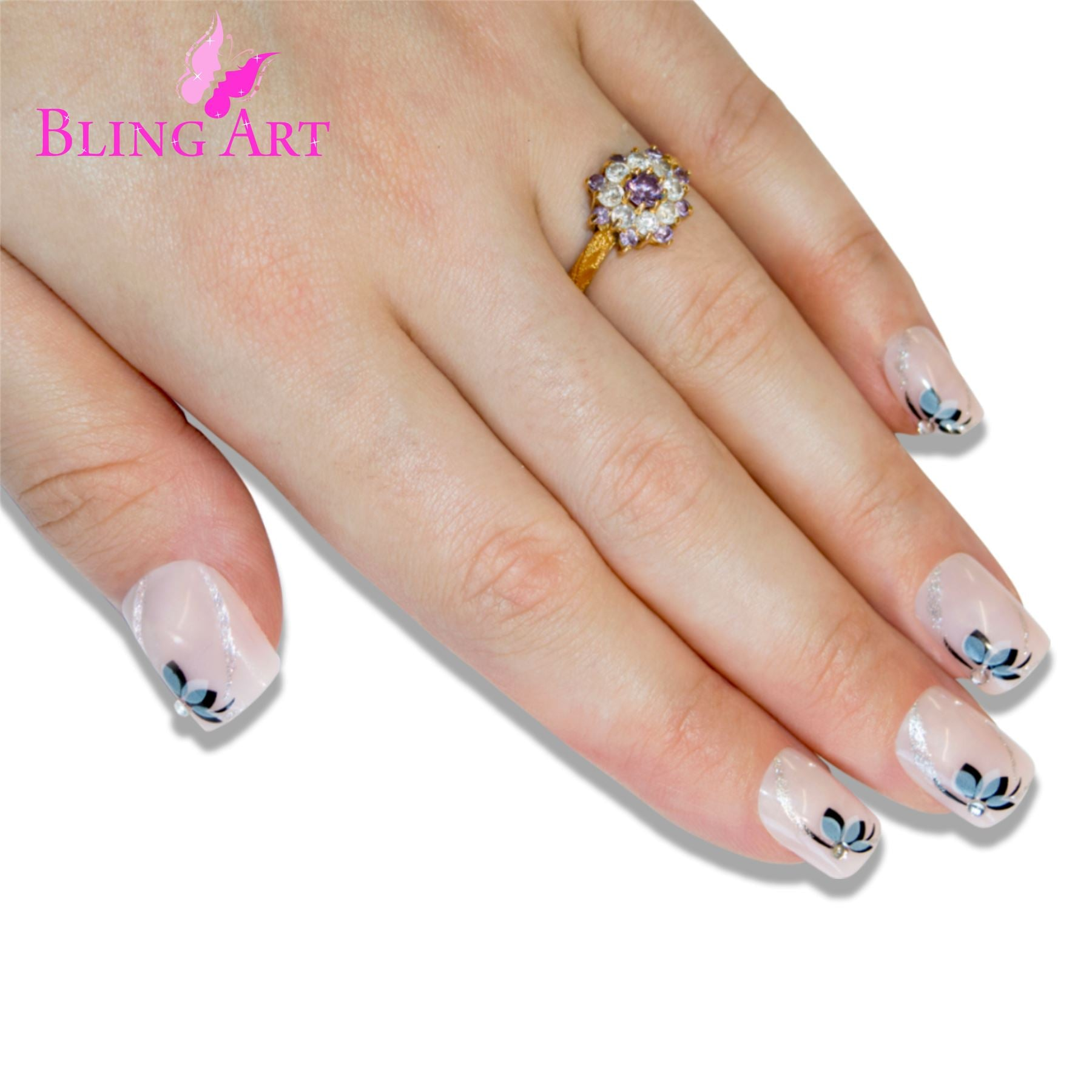 False Nails by Bling Art White Black Flower French Manicure Fake Medium Tips Glue