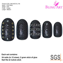 False Nails by Bling Art Black Punk Oval Medium Fake 24 Acrylic Nail Tips Glue