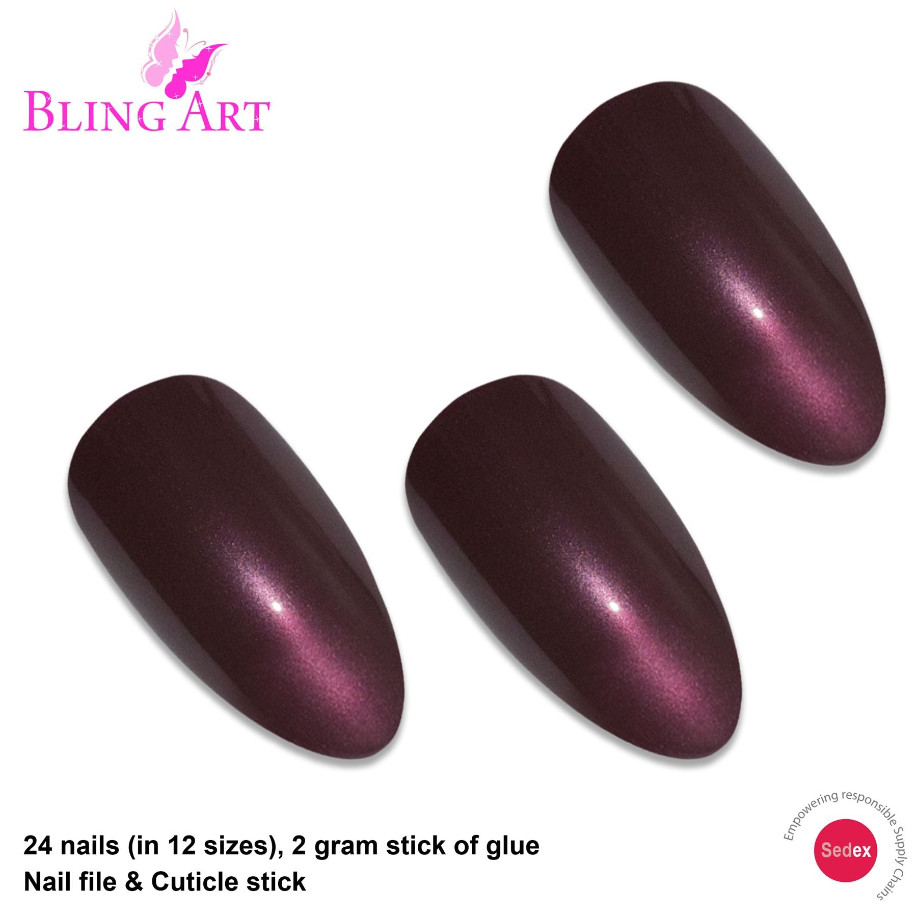 False Nails by Bling Art Brown Glitter Almond Stiletto Fake Long Acrylic Tips