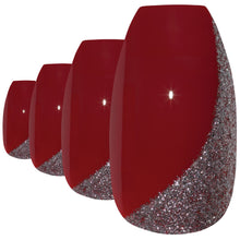False Nails by Bling Art Red Glitter Ballerina Coffin Acrylic 24 Fake Long Nail Tips