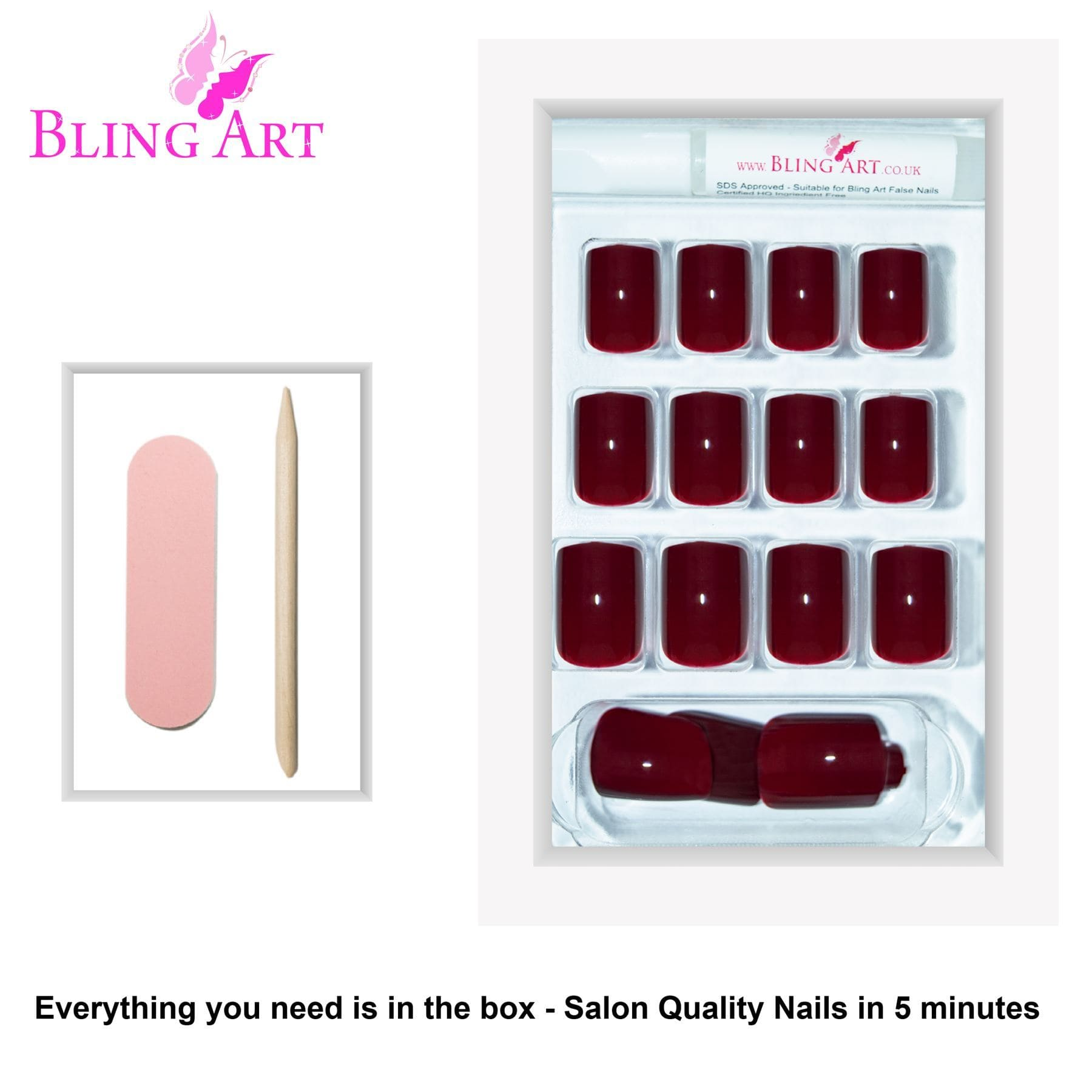 False Nails by Bling Art Brown Red French Manicure Fake Medium Tips with Glue