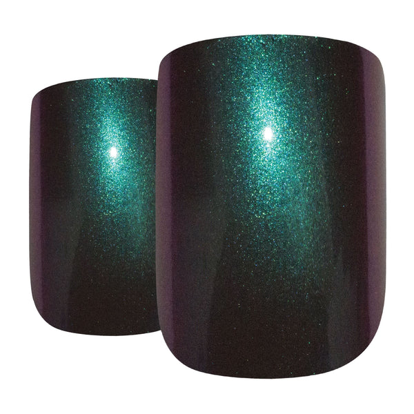 False Nails by Bling Art Green Purple Chameleon French Squoval 24 Fake Tips - Bling Art