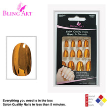 False Nails by Bling Art Gold Metallic Oval Medium Fake 24 Acrylic Nail Tips Glue
