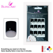 False Nails by Bling Art Black Glitter French Manicure Fake Medium Tips with Glue