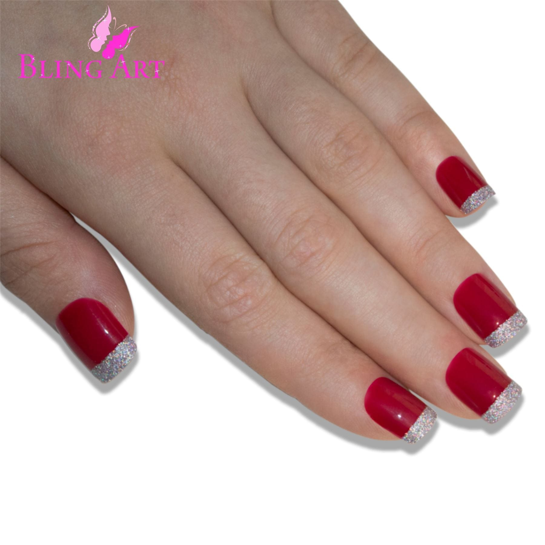 False Nails by Bling Art Red Silver French Manicure Fake Medium Tips with Glue