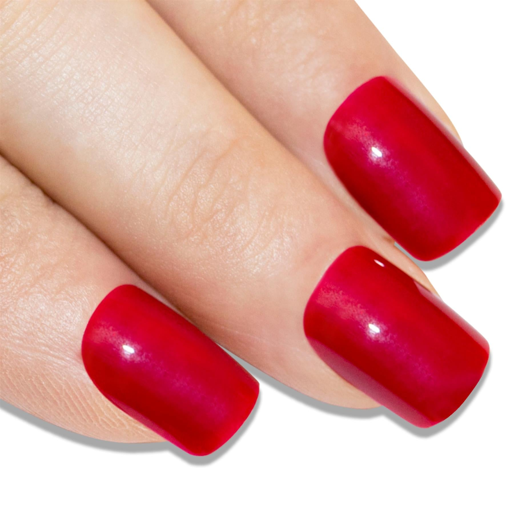 False Nails by Bling Art Red Polished French Manicure Fake Medium Tips with Glue, Nail Care by Bling Art