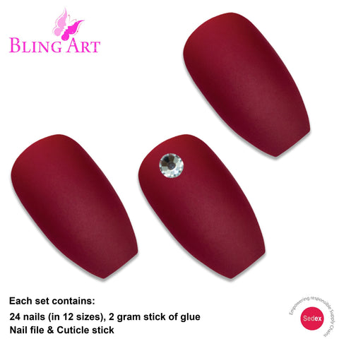 False Nails by Bling Art Red Matte Ballerina Coffin 24 Fake Long Acrylic Tips - Bling Art