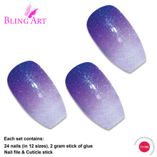 False Nails by Bling Art Purple Gel Ombre Ballerina Coffin 24 Fake Acrylic Tips