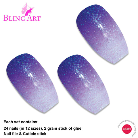 False Nails by Bling Art Purple Gel Ombre Ballerina Coffin 24 Fake Acrylic Tips - Bling Art