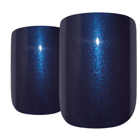 False Nails by Bling Art Blue Glitter French Squoval 24 Fake Medium Acrylic Tips - Bling Art
