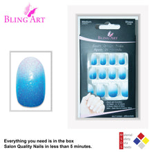 False Nails by Bling Art Blue Gel Ombre Oval Medium Fake Acrylic 24 Tips Glue - Default Title