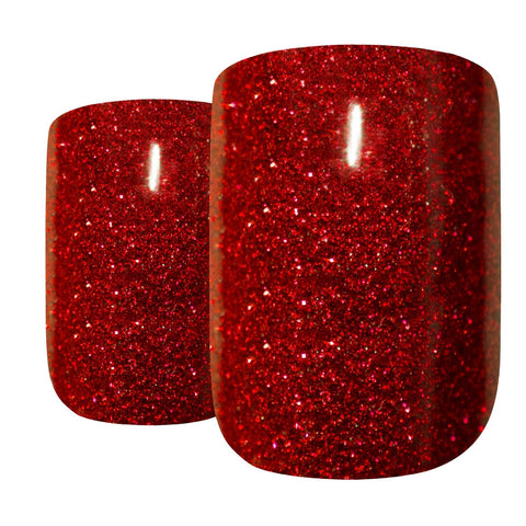 False Nails by Bling Art Red Gel French Manicure Fake Medium Tips with Glue - Bling Art