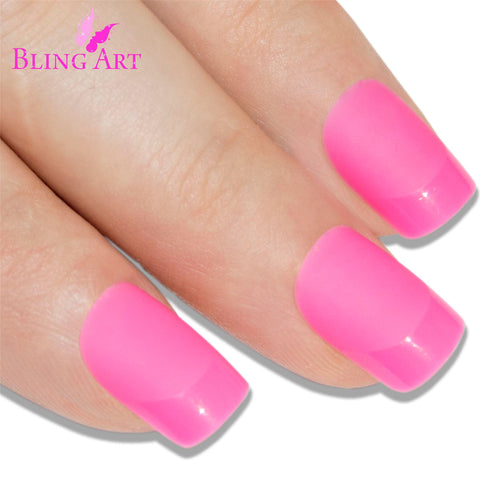 False Nails by Bling Art Pink Matte French Manicure Fake Medium Tips with Glue - Bling Art