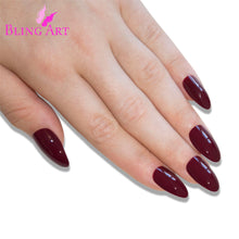 False Nails Bling Art Brown Red Almond Stiletto Long Fake Acrylic Tips with Glue