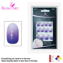 False Nails by Bling Art Purple Gel Ombre Oval Medium Fake Acrylic 24 Tips Glue