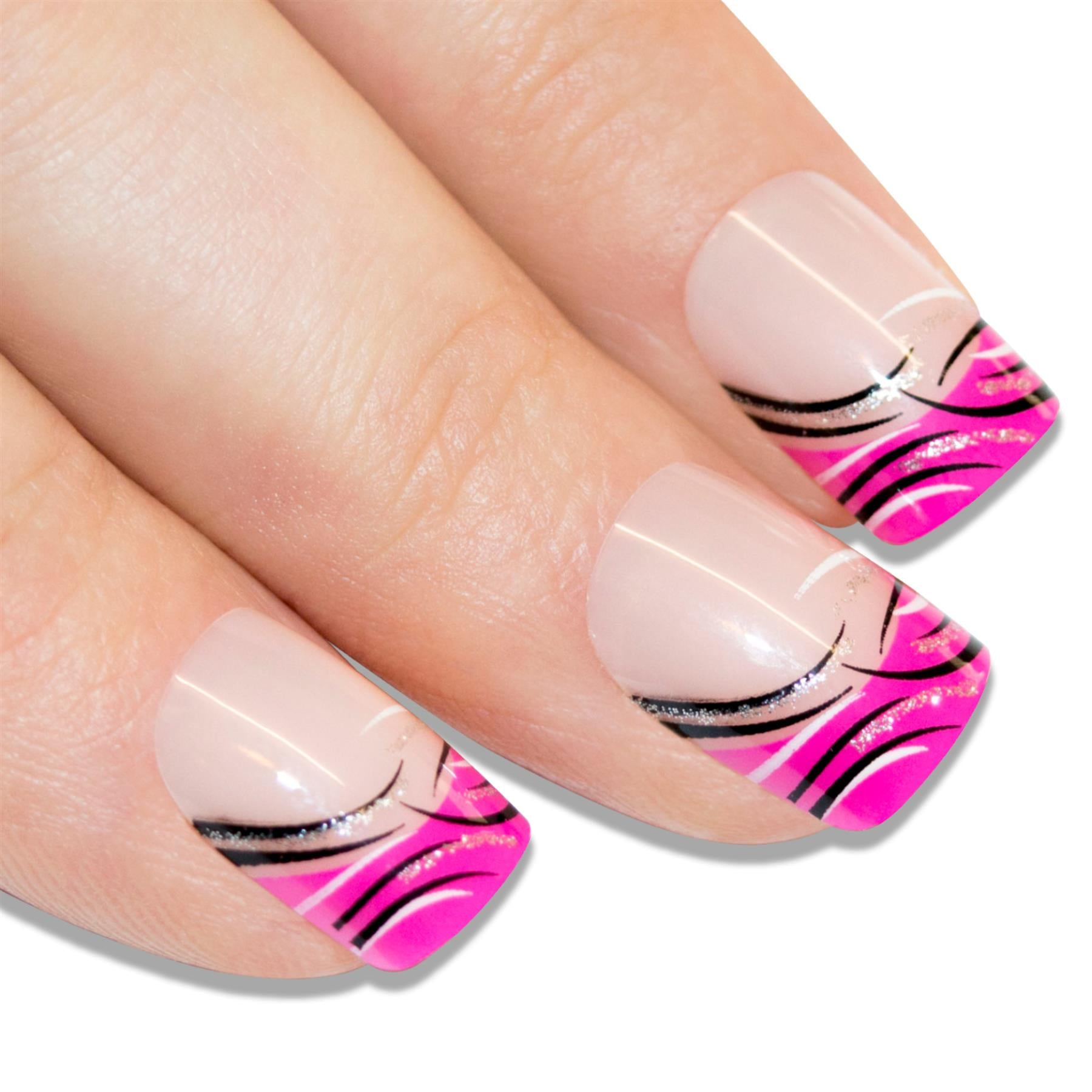 False Nails by Bling Art Glitter Pink French Manicure Fake Medium Tips with Glue, Nail Care by Bling Art