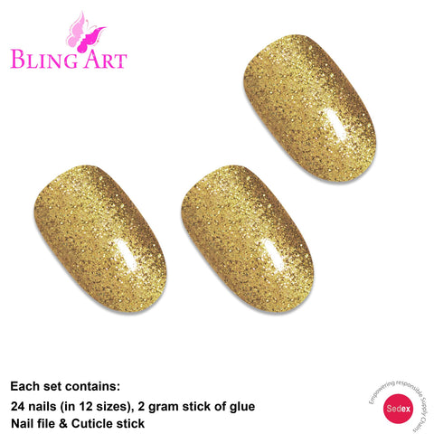 False Nails by Bling Art Gold Gel Oval Medium Fake Acrylic 24 Tips with Glue - Bling Art