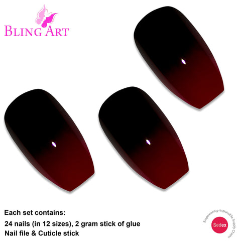 False Nails by Bling Art Red Black Ballerina Coffin Acrylic 24 Fake Long Tips - Bling Art