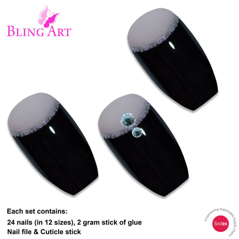 False Nails Bling Art Black Crystal Polished Ballerina Coffin Long Fake Tips - Bling Art