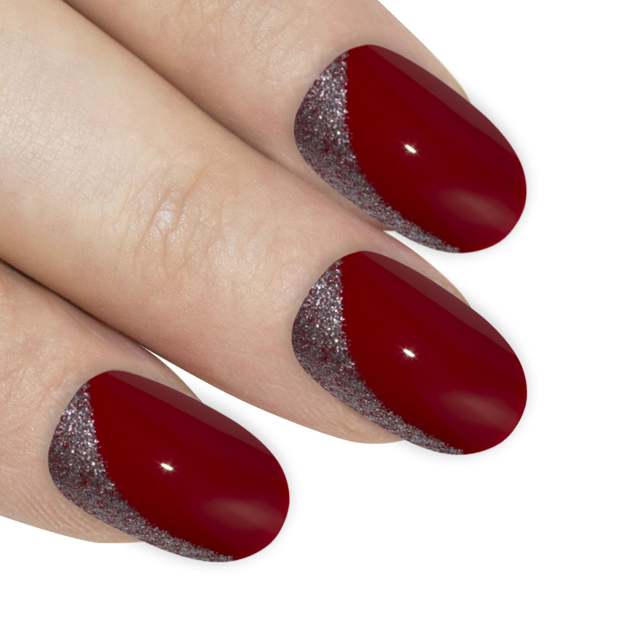 False Nails by Bling Art Red Glitter Oval Medium Fake Acrylic Nail Tips with Glue, Nail Care by Bling Art